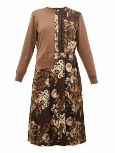 Junya Watanabe - Wool And Floral-print Satin-panelled Cardigan - Womens - Brown Multi