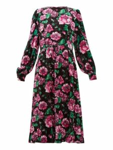 Marc Jacobs - Rose Print Crinkle Velvet Balloon Sleeve Dress - Womens - Black Print