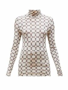 Isabel Marant - Joyela Printed Roll Neck Jersey Top - Womens - Ivory Multi