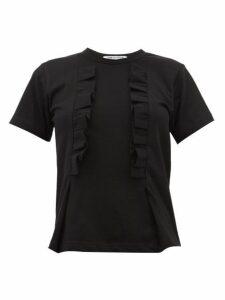 Comme Des Garçons Comme Des Garçons - Ruffled-trim Cotton T-shirt - Womens - Black