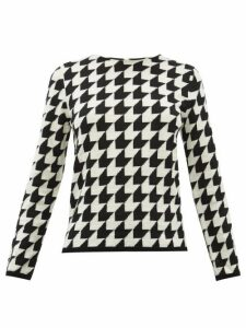 Comme Des Garçons Comme Des Garçons - Houndstooth Raw Round Neck Wool Sweater - Womens - Black White
