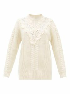 See By Chloé - Lace Insert Wool Blend Sweater - Womens - Ivory
