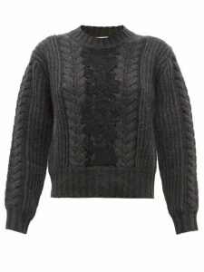 See By Chloé - Floral Lace Insert Wool-blend Sweater - Womens - Dark Grey
