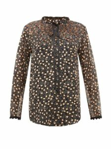 See By Chloé - Flocked Polka-dot Silk-chiffon Blouse - Womens - Black Multi