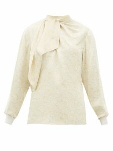 Chloé - Floral-jacquard Tie-neck Blouse - Womens - White Multi