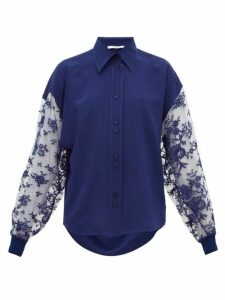 Givenchy - Floral-lace Silk-crepe Blouse - Womens - Blue
