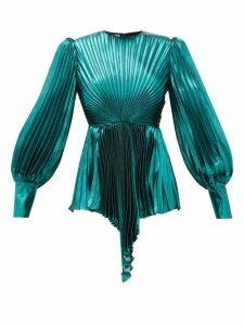 Gucci - Plissé Metallic Silk-blend Blouse - Womens - Blue