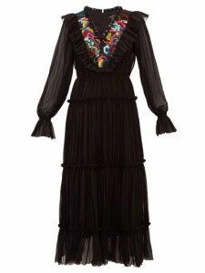 Saloni - Celestine Embroidered Georgette Midi Dress - Womens - Black Multi