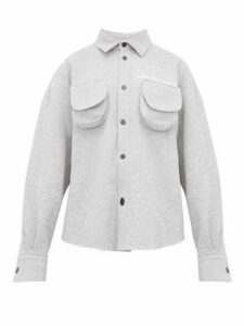 Natasha Zinko - Marled Cotton Blend Jersey Shirt - Womens - Grey