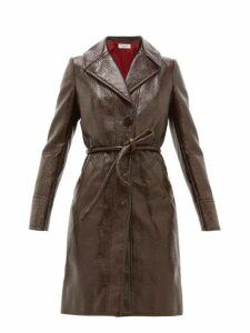 Françoise - Crackle-effect Faux-leather Trench Coat - Womens - Brown
