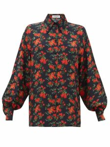 Françoise - Floral-print Balloon-sleeve Silk Shirt - Womens - Navy Multi