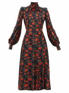 Françoise - Floral-print Bow Neck Silk Midi Dress - Womens - Navy Multi