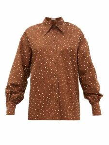 Françoise - Studded Balloon-sleeve Cotton Shirt - Womens - Brown