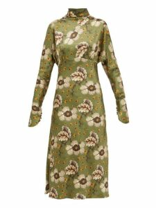 Etro - Leicester Floral Print High Neck Satin Dress - Womens - Green Multi