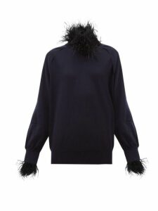 Toga - Feather Trim Wool Blend Sweater - Womens - Navy