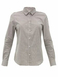 Golden Goose - Contrast-check Cotton Poplin Shirt - Womens - Brown