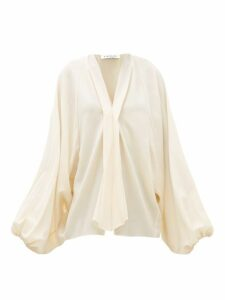 Lanvin - Balloon Sleeve Wool Crepe Blouse - Womens - Ivory
