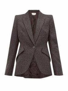 Alexander Mcqueen - Single Breasted Wool Flannel Jacket - Womens - Light Grey