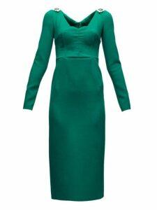 Dolce & Gabbana - Brooch-embellished Wool-blend Crepe Dress - Womens - Green