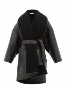 Balenciaga - Oversized Faux Leather Wrap Coat - Womens - Black