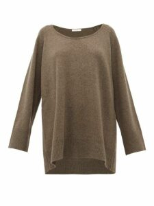 The Row - Damian Scoop-neck Wool-blend Sweater - Womens - Light Brown