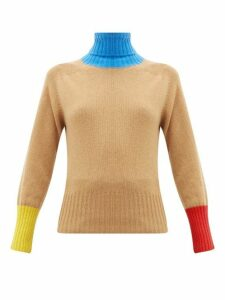 La Fetiche - Colourblock Roll Neck Wool Sweater - Womens - Camel