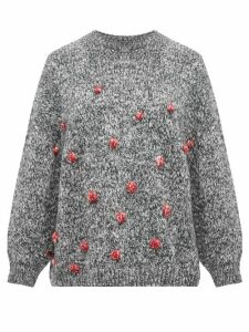 Vika Gazinskaya - Oversized Bobble-stitch Sweater - Womens - Grey Multi