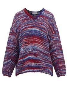 Vika Gazinskaya - Oversized V-neck Knitted Sweater - Womens - Blue Multi