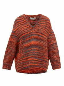 Vika Gazinskaya - Dropped-sleeve Mélange Sweater - Womens - Red Multi