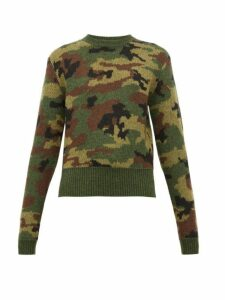 Miu Miu - Camouflage-jacquard Wool Sweater - Womens - Green Multi