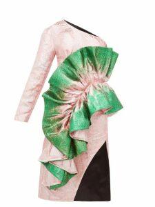 Germanier - Asymmetric Glitter Paint Brocade Dress - Womens - Green Multi