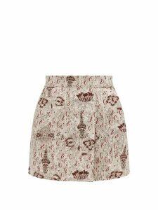 Sir - Stella-print Linen Mini Skirt - Womens - Beige