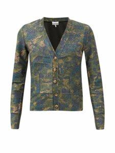 Ganni - Camouflage Metallic Cardigan - Womens - Khaki