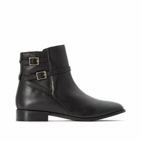 Leather Ankle Boots with Double Strap