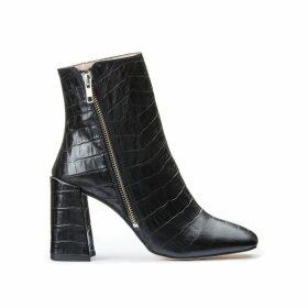 Crocodile Print Leather Heeled Boots