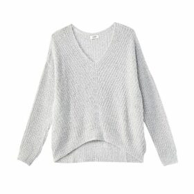 Fine Knit Ribbed Jumper with V-Neck