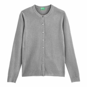 Wool Cardigan with Buttons and Round Neck