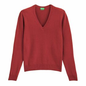 Wool Fine Knit Jumper with V-Neck