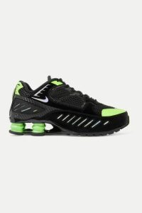 Nike - Shox Enigma Mesh And Iridescent Faux Leather Sneakers - Black