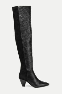 Aquazzura - Shoreditch 70 Snake-effect Leather And Suede Over-the-knee Boots - Black