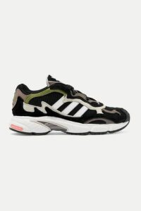 adidas Originals - Temper Run Mesh, Suede And Leather Sneakers - Army green