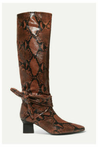 Rosetta Getty - Knotted Snake-effect Leather Knee Boots - Brick