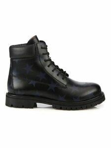 Hologram Stars Leather Combat Boots