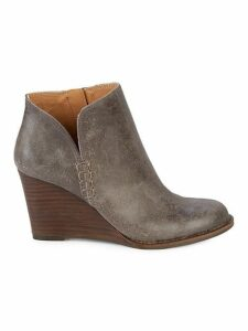 Yimmie Leather Wedge Booties