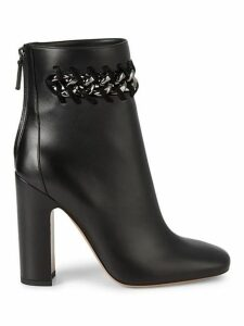 Woven Chain Leather Booties