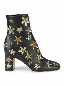 Embellished Leather Booties