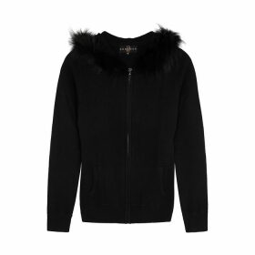 Dom Goor Black Fur-trimmed Wool-blend Jumper