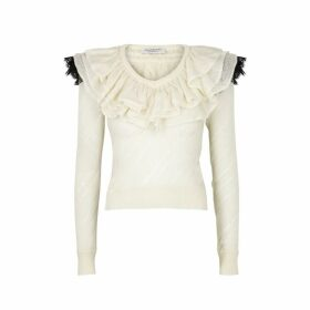Philosophy Di Lorenzo Serafini Ivory Ruffled Wool-blend Jumper