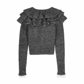 Philosophy Di Lorenzo Serafini Grey Ruffled Knitted Jumper