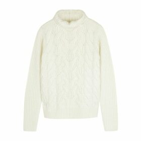 Helmut Lang Cream Cable-knit Wool Jumper